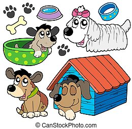 schattig, 2, honden, verzameling