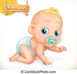 schattig, 3d, vector, baby., kid., pictogram