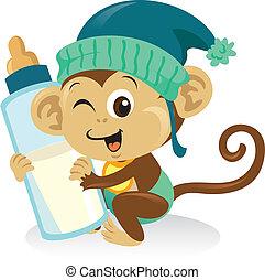 schattig, aap, groot, vasthoudende baby, bottle., melk