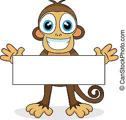 schattig, aap, met, leeg teken