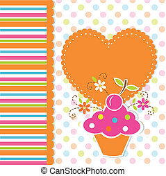 schattig, achtergrond, cupcake