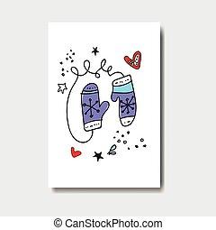 schattig, achtergrond, postkaart, doodle, vrijstaand, groet,...