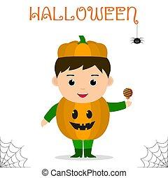 schattig, achtergrond., suikergoed, geklede, halloween, vrijstaand, vieren, kostuum, kind, feestje, witte , pompoen
