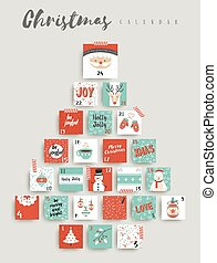 schattig, advent, ornament, versiering, kalender, kerstmis