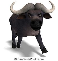 schattig, af)knippen, gekke , zeer, op, spotprent, vertolking, buffalo., steegjes, witte , schaduw, 3d
