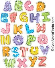 schattig, alfabet, brieven, hoofdstad