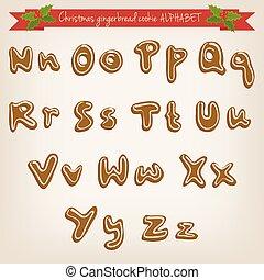 schattig, alfabet, hand, vector, koekje, peperkoek, getrokken, kerstmis