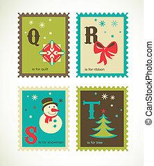 schattig, alfabet, kerstmis, kerstmis, iconen