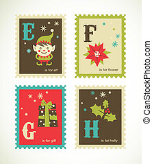 schattig, alfabet, retro, kerstmis, iconen