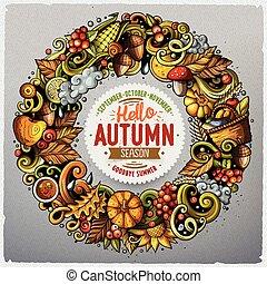 schattig, alles, items, frame, hand, herfst, getrokken,...