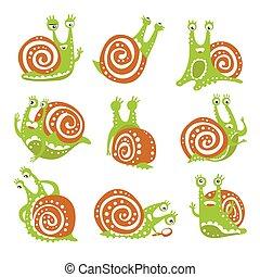 schattig, anders, kleurrijke, slak, gekke , set, karakter, emoties, hand, weekdier, vector, illustraties, getrokken