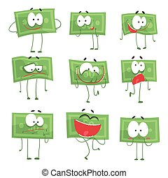 schattig, anders, set, kleurrijke, gekke , het tonen, emoties, bankpapier, vector, karakters, illustraties, humanized