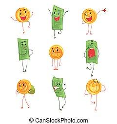 schattig, anders, set, kleurrijke, gekke , het tonen, muntjes, emoties, bankpapier, vector, karakters, illustraties, humanized