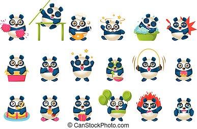 schattig, anders, spullen, karakter, verzameling, panda, humanized, spotprent, emoji