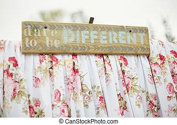 schattig, anders, zijn, vrouwelijk, decorations., durven