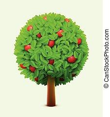 schattig, appel, rijp, zomer, eco, bladeren, boompje, apples., realistisch, boom., groene, oogsten, concept., rood
