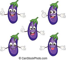 schattig, aubergine, karakter, set, ., spotprent, vector, illustration.