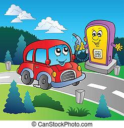 schattig, auto, op, spotprent, benzinestation