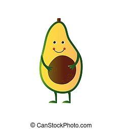 schattig, avocado, gekke , karakter, illustratie, gezicht, vrolijk, fruit, vector, spotprent