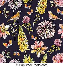 schattig, b, natuur, ouderwetse , seamless, textuur, watercolor, vogels