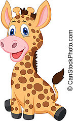 schattig, baby giraffe, spotprent
