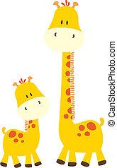 schattig, baby, giraffes