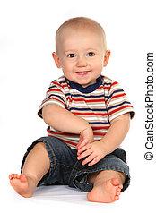 schattig, baby jongen, toddler, zittende , en, holdingshand