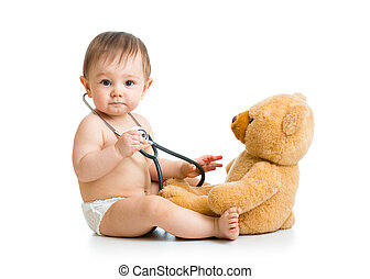 schattig, baby jongen, weared, babyluier, met, stethoscope, en, speelbal