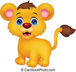schattig, baby leeuw, spotprent