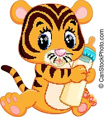 schattig, baby, tiger