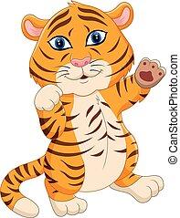 schattig, baby, tiger, spotprent