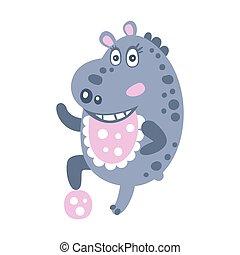 schattig, bal, nijlpaard, karakter, illustratie, spelend, vector, spotprent