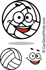schattig, bal, spotprent, volleybal