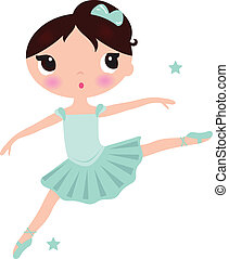 schattig, ballerina, vrijstaand, cyan, meisje, witte