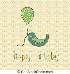 schattig, balloon, -, groet, jarig, vector, vasthouden, vogel, kaart
