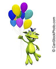 schattig, balloons., spotprent, vasthouden, monster