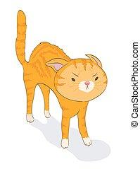 schattig, bang, tabby, illustratie, spotprent, vector, cat., katje, boos, rood, white.