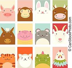 schattig, banieren, set, dieren