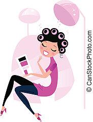 schattig, beauty, vrouw, in, rose haren, salon, vrijstaand, op wit
