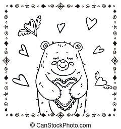 schattig, beer, hart