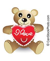 schattig, beer, rood hart