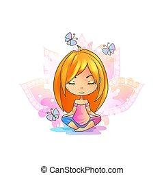 schattig, beoefenen, pose., lotus, yoga., meisje, meditatie