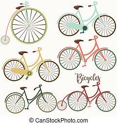 schattig, bicycles, set, vector, ontwerp