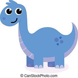 schattig, blauwe , dinosaurus, vrijstaand, op wit