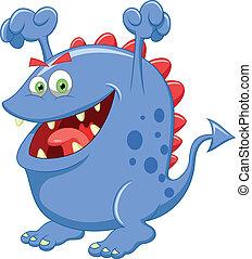 schattig, blauwe , monster, spotprent