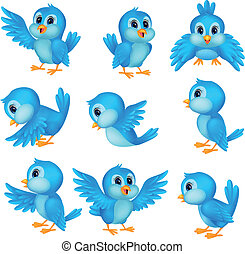 schattig, blauwe vogel, spotprent