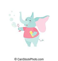 schattig, blazen, karakter, illustratie, spotprent, vector, elefant, bellen, zeep