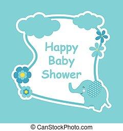 schattig, bloem, frame, douche, elefant, baby, kaart