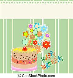 schattig, bloem, frame, vector, ontwerp, cupcake.