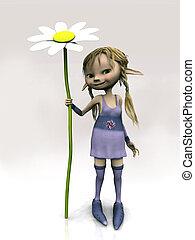 schattig, bloem, groot, vasthouden, meisje, spotprent